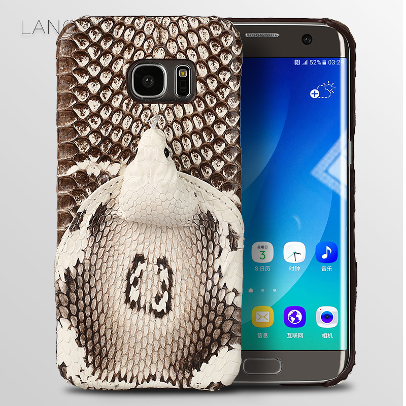 Luxury brand phone case real snake head back cover phone shell For Samsung Galaxy S7 Edge full manual custom processing