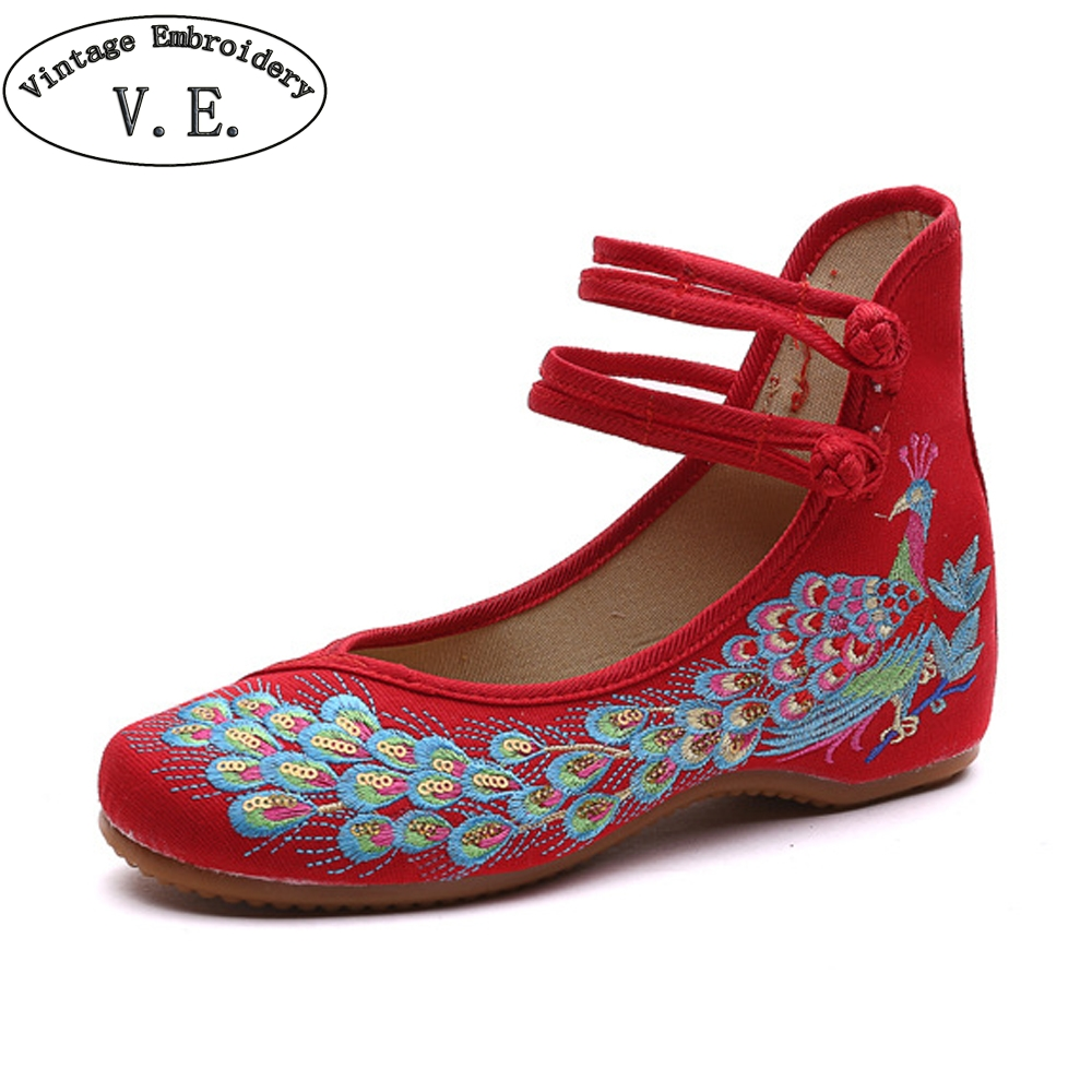 Vintage Embroidery Old Peking Peacock Embroidered Women Flats Soft Causal Mary Janes Shoes For Lady Ballet Dancing Travel Shoes