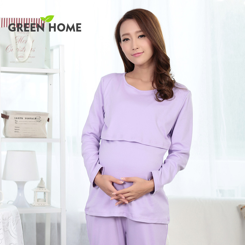 Easy match simple maternity clothes set purple cotton 2pcs breastfeeding pajamas plain pregnancy ...