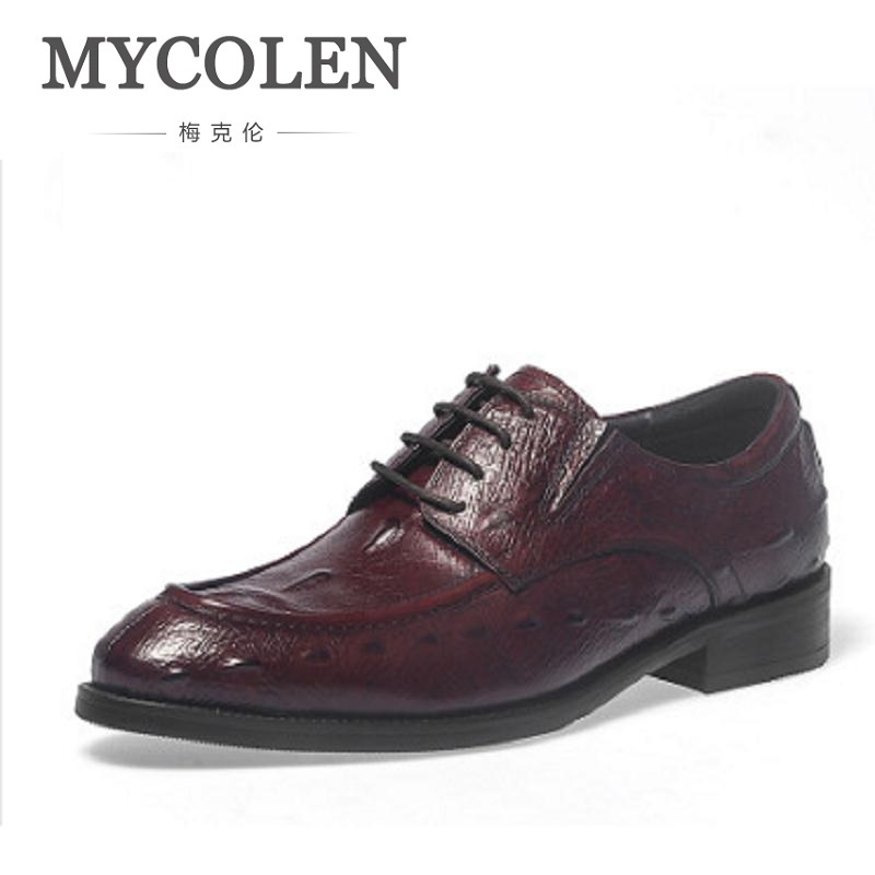 MYCOLEN Men Winter Dress Shoes Crocodile Print Genuine Leather Male Shoes Brown Black Lace Up Dress Wedding Party Fashion Shoes 2017 new italian modern men formal oxford shoes genuine leather crocodile print brown lace up dress men s footwear 1815 810