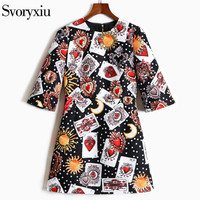 SVORYXIU Designer Autumn Dress Women S High Quality Half Sleeve Diamonds Beading Playing Cards Printed Vintage