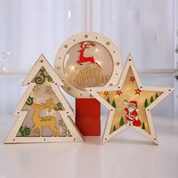 Wooden Star Tree Book 2018 Christmas Room Stores Decoration LED Ornament for home