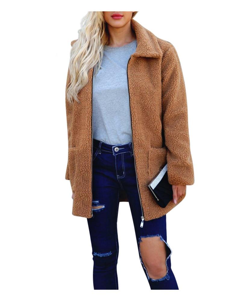 Europe and the United States street photo lapel imitation fur plush coat multi-color long wool coat (9)