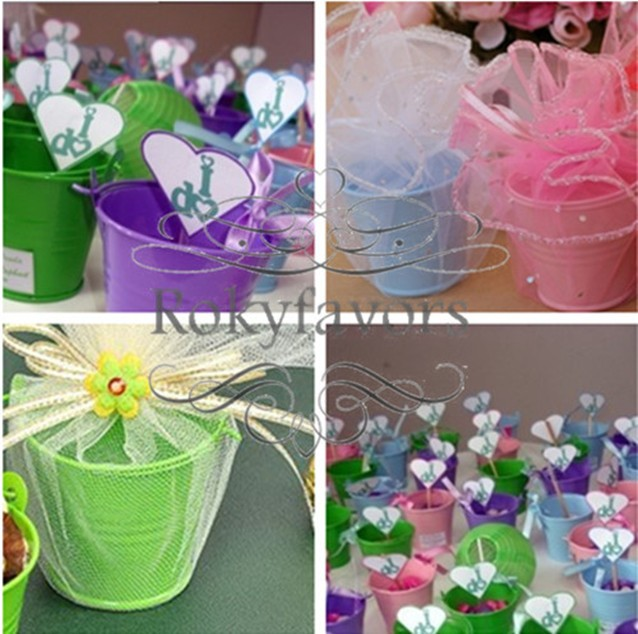Free Shipping 24pcs Great Party Supplies Mini Tin Pails Favor Candy