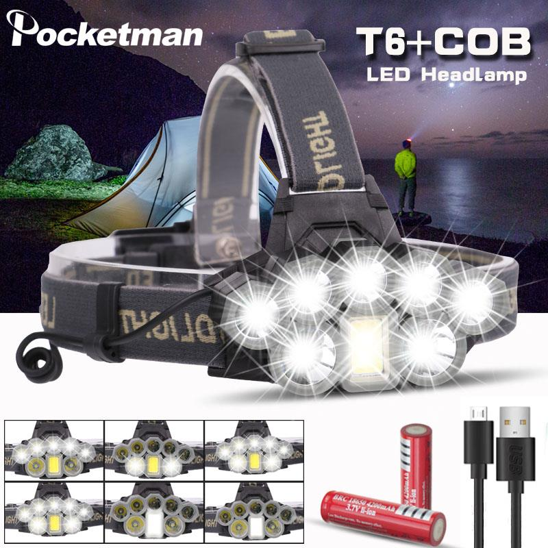 USB Rechargeable Headlight Super Bright Headlamp 2*T6+5*Q5+1*COB LED Head Lamp Flashlight Torch Head Light Lantern 18650 Battery