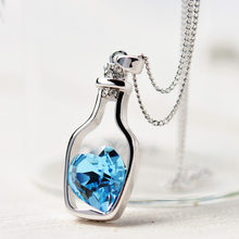 Women Necklaces Love Drift Bottles Pendant New Ladies Fashion Popular Crystal Necklace Chain Metal Pendant #40(China)