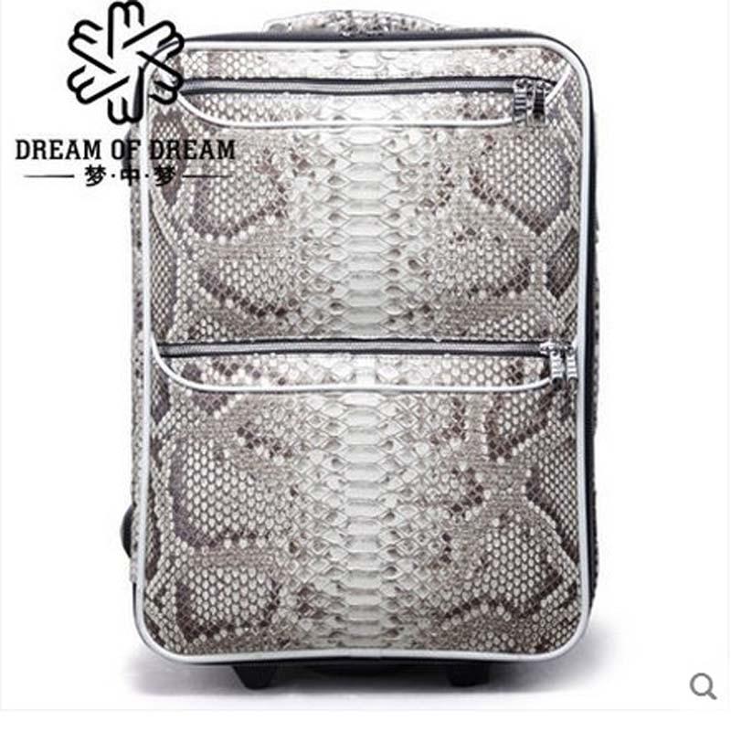 2018 mengzhongmeng Python skin Pull rod box 18 - inch universal wheel hardbox password boarding men women luggage