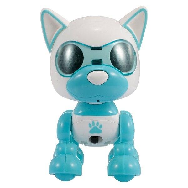 RC карманный мини робот RC собака умный осязаемый удар микрофон Запись голоса Смеющийся лай электрический RC детские игрушки - Цвет: Синий