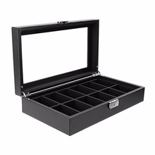 High-Grade 12 Slot Carbon Fiber Design Jewelry Display Watch Box Storage Holder Black Large New Arrivals