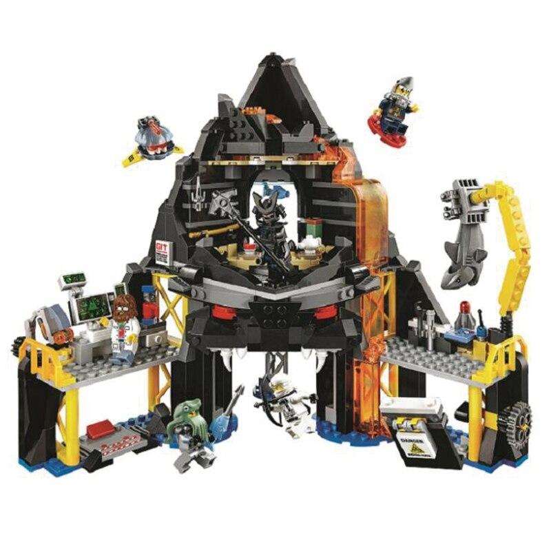 Volcano Lair Building Blocks Sets Bricks Movie Classic Model Kids Toys Marvel Compatible Legoing cat s lair