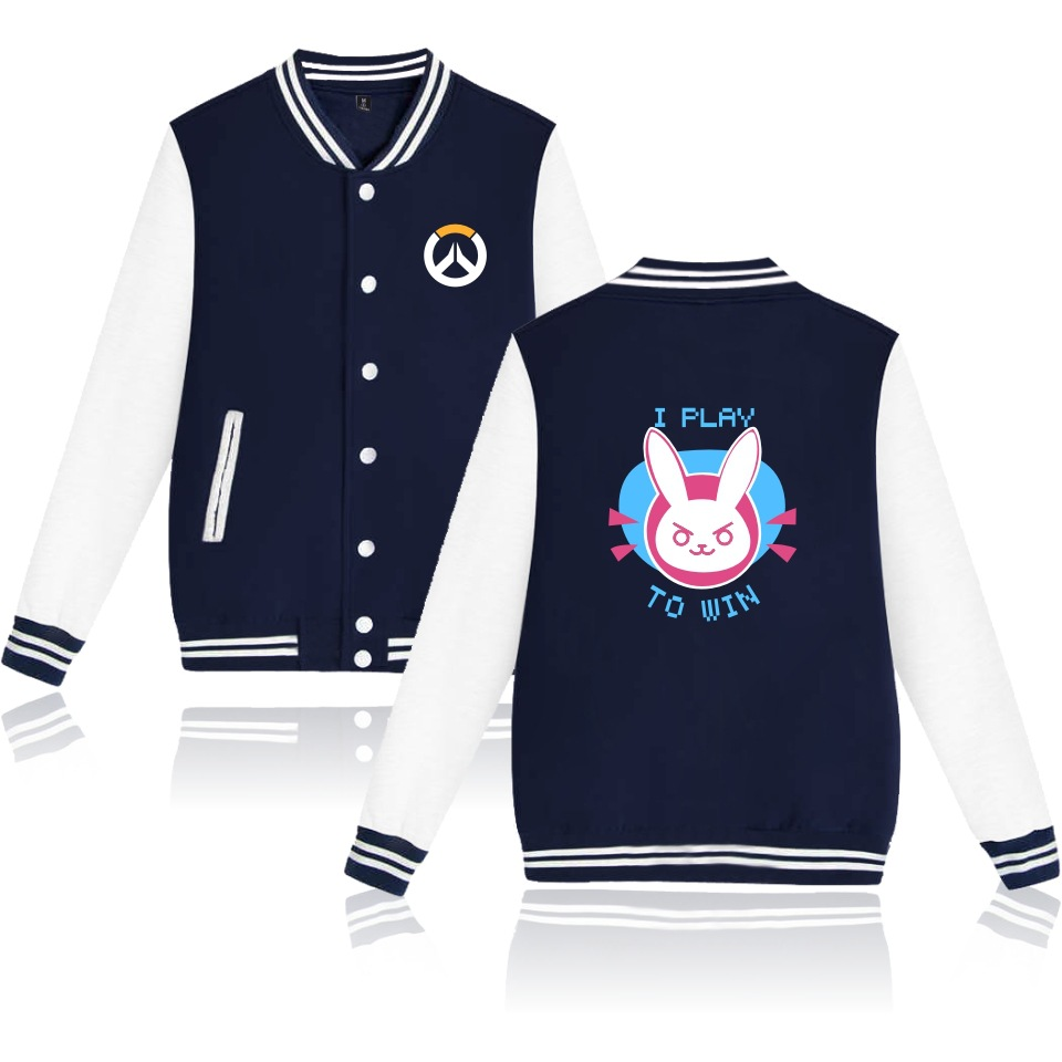 Hot Game Ow Cute D.va Unisex Blue Cosplay Costume Coat Hoodie Jacket Baseball Uniform