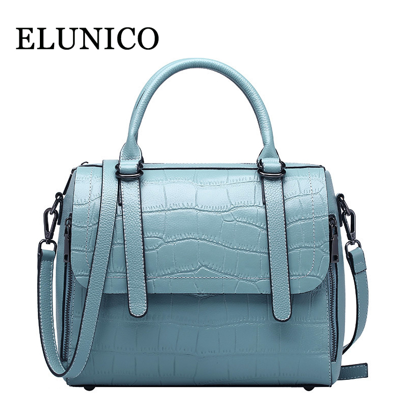 ELUNICO Genuine Leather Tote Bags Handbags Women Famous Brands Fashion Crocodile Pattern Cowhide Messenger Shoulder Bag Bolsas 2017 new female genuine leather handbags first layer of cowhide fashion simple women shoulder messenger bags bucket bags