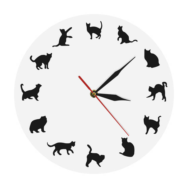 74f4bea84e1 1 stuk Balck Kat Wandklok Dieren Silhouet Ronde Klok Iconische Kitty Pet  Shop Decoratieve Muur Kunst