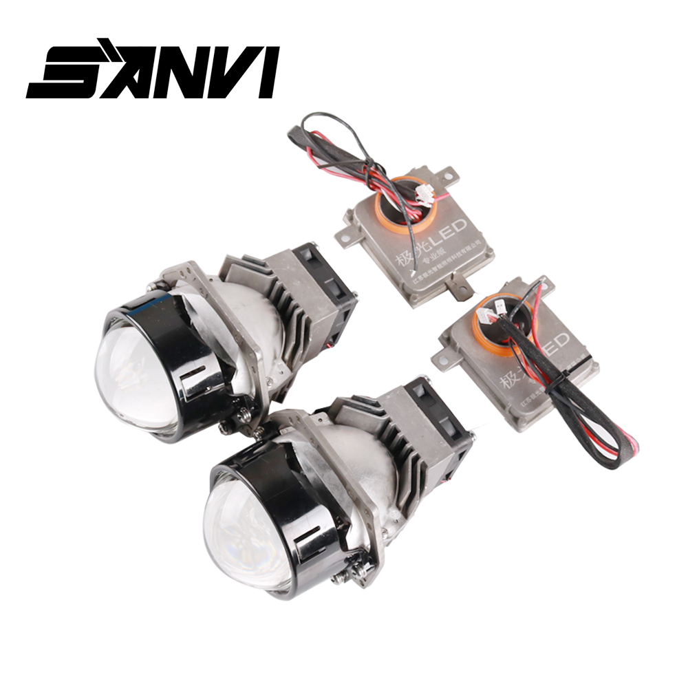 Sanvi 2Pcs 3inches 45W 5500K Car Bi LED Lens Headlight 12V LED Auto LED Projector Headlight With Dual LED Chips/Reflector