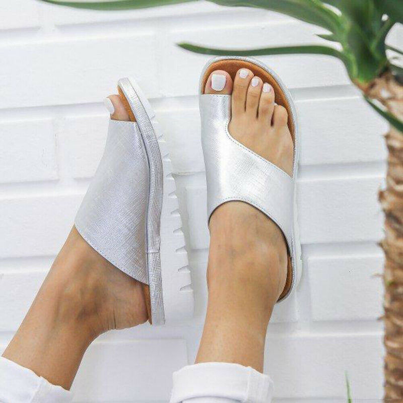 HTB1eqkZcRGw3KVjSZFwq6zQ2FXaW Women PU Leather Sandals Flip Flops Woman Shoes Platform Flat Sole Casual Orthopedic Bunion Corrector Ladies Foot Correction