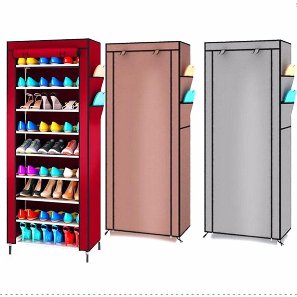 Overseas 9 Layers Shoe Cabinet Canvas Fabric Shoe Organizer Storage Rack W/ Zipper Standing Shoes Shelf Large Capacity Furniture