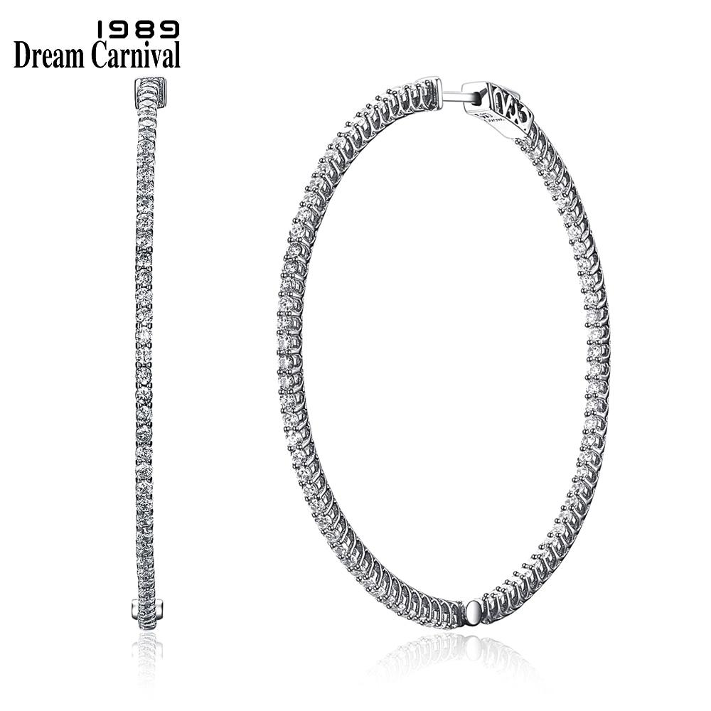DreamCarnival1989 Simple Fashion Style 1 Row Stone Cubic Zirconia Slim Design Silver 925 Fashion Big Thin Hoop Earrings SE14719R fashion style