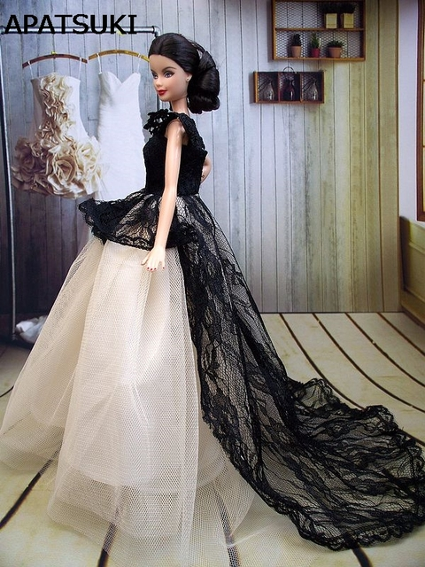 8790e41fa3a440 Ręcznie robione Grace Lady lalki sukienka długi ogon suknia wieczorowa  ubrania koronki ślubne sukienka dla barbie