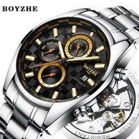 BOYZHE Для мужчин спортивные автоматические механические часы белый Модные Повседневное Элитный бренд Нержавеющаясталь золотые часы Relógio