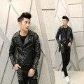 New 2017 men rivet leather jacket Men's Korean Slim nightclub personality tide leather costumes hairstylist punk coat