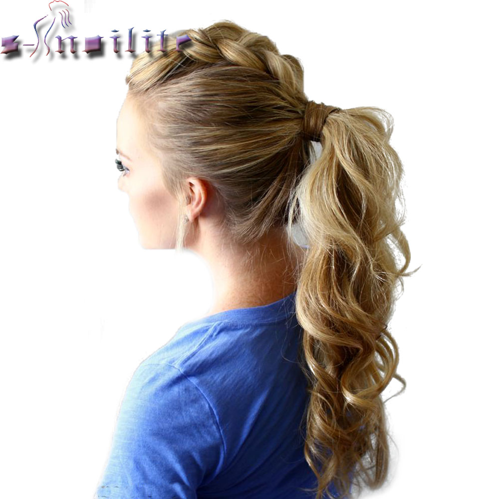 S-noilite 43CM Long Wavy Real Natural Ponytail Clip in Pony tail Hair Extensions Wrap Around on Synthetic Hair Piece