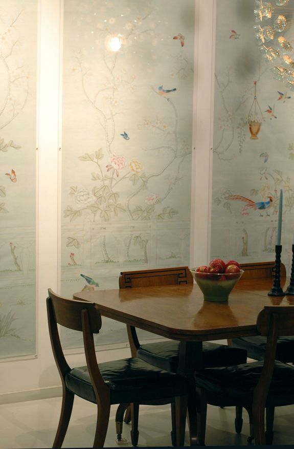 Classic elegant customized Hand-painted silk wallpaper painting flower with birds wallcovering many patterns/background optional