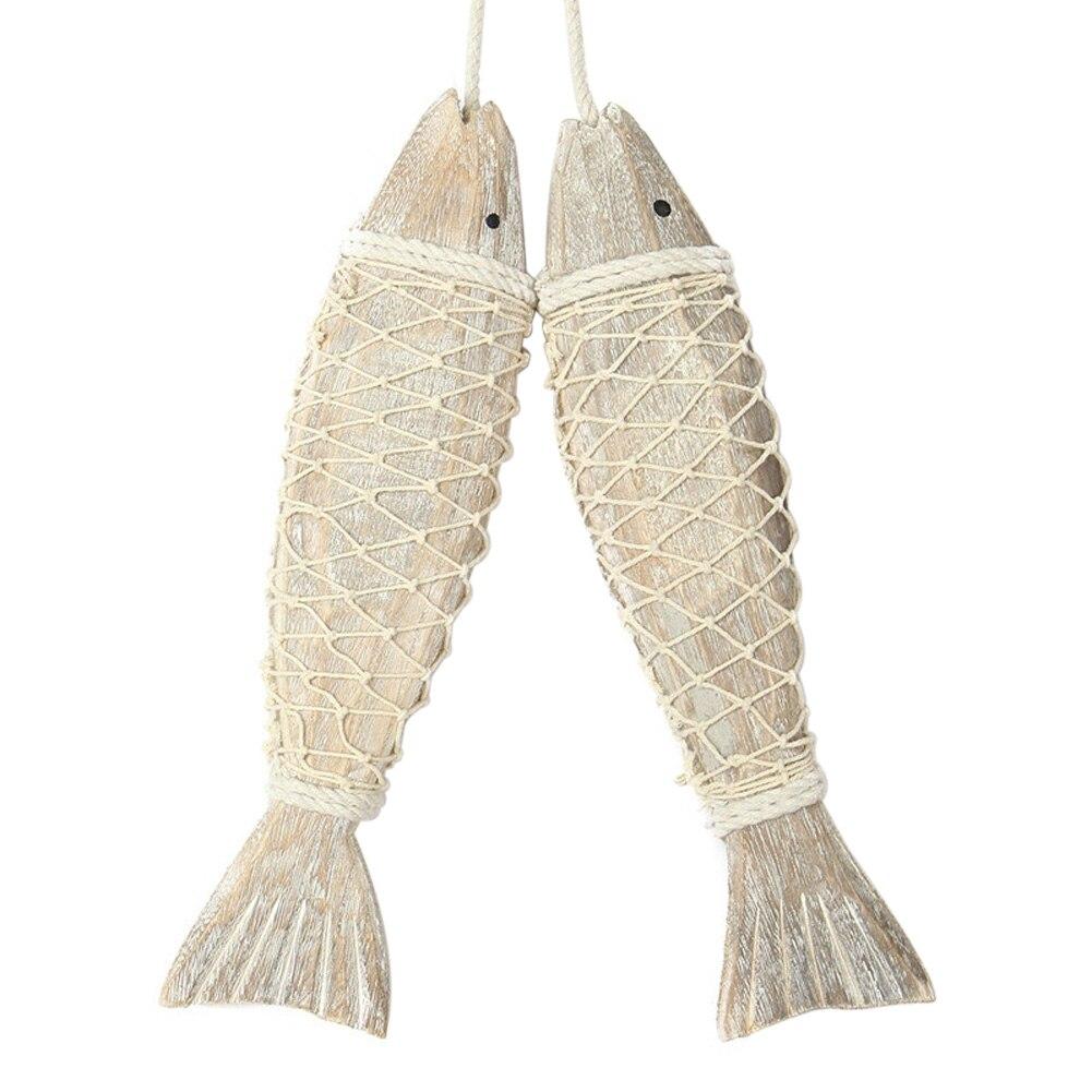 decoratin pez de madera de estilo chino colgante de madera de pescado pueblo decorado artesanas animales