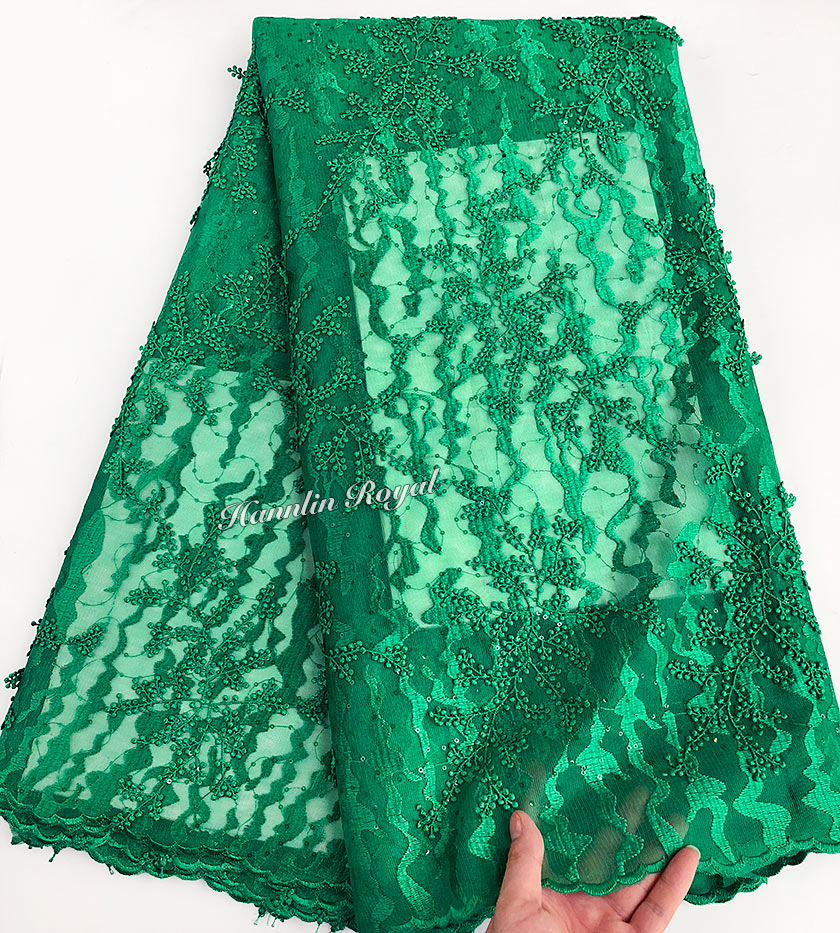 Plain green lots of Glittering small sequins African french lace Nigerian sewing tulle lace fabric 5