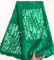 Plain green lots of Glittering small sequins African french lace Nigerian sewing tulle lace fabric 5 yards perfect hot sale