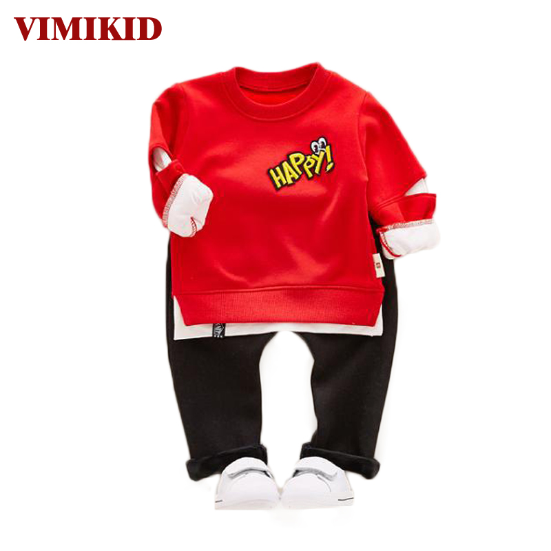 VIMIKID Baby Clothes Sets 2017 Autumn New Long-sleeved O-Neck Collar Color Shirt+Casual Pants 2PCS Children's Clothing Suits цены онлайн