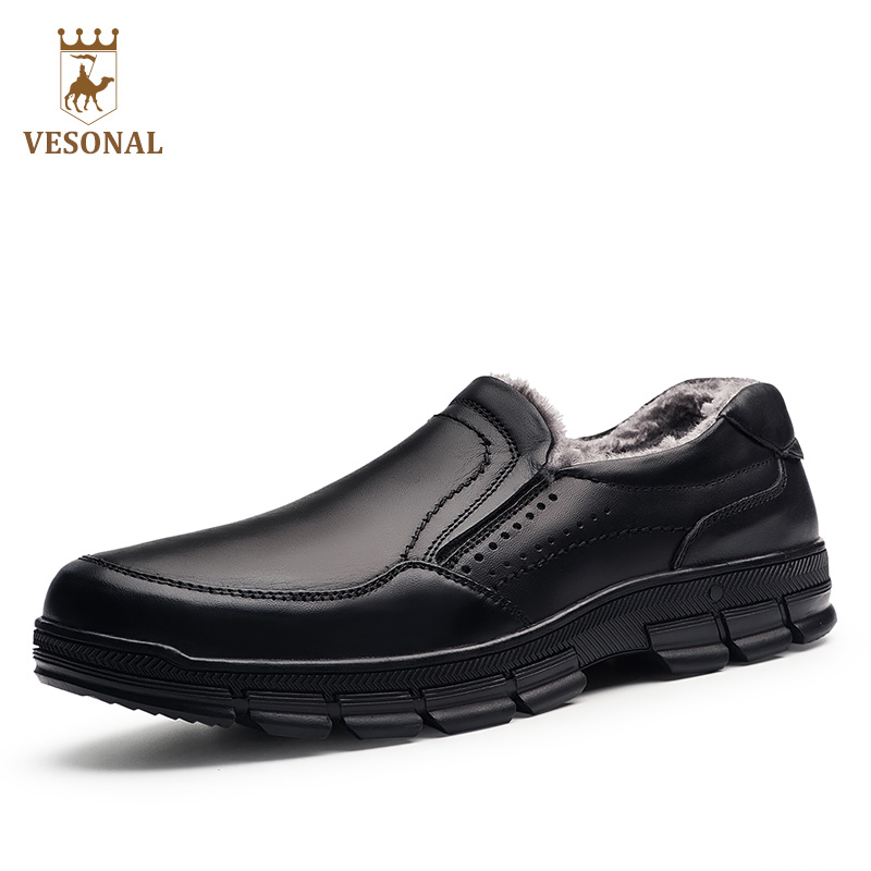 VESONAL Winter Fur Male Shoes For Men Loafers Adult Business Casual Brand High Quality Genuine Leather Footwear Man Walking