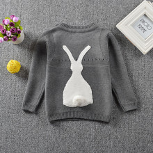 цена на Children's Boys and girls little rabbit embroidered sweaters Kids Baby Long sleeve Kintted fashion Cartoon winter sweater TP045
