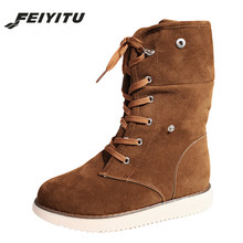 feiyitu  Women Snow Boots Female Suede Lace Up Winter Mid Calf High Ladies Cross Tied Bottes