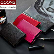 QOONG Genuine Leather Unisex Card Holder Wallets High Quality Female Credit Card Holders Women ID Card Case Purse KH1-013