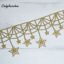 14.5cm Wide Stars Gold Tassels Lace Fringe Trim Ribbon Costume Home Textile Curtains Decor Trims Clothes Sewing Accessories