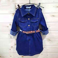 3-7Y Big virgin girls Autumn 2015new children's clothing children's denim dress long-sleeved dress princess dress factory outlet