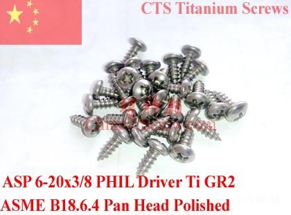 Titanium screws 6-20x3/8 Pan Head 2# Phillips Driver Self Tapping 50 pcs Ti GR2