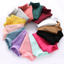Children's T-shirts 2016 Spring and Autumn Casual Basic Turtleneck Shirt Kids 100% Cotton Bottoming Tops Boys Girls for Students