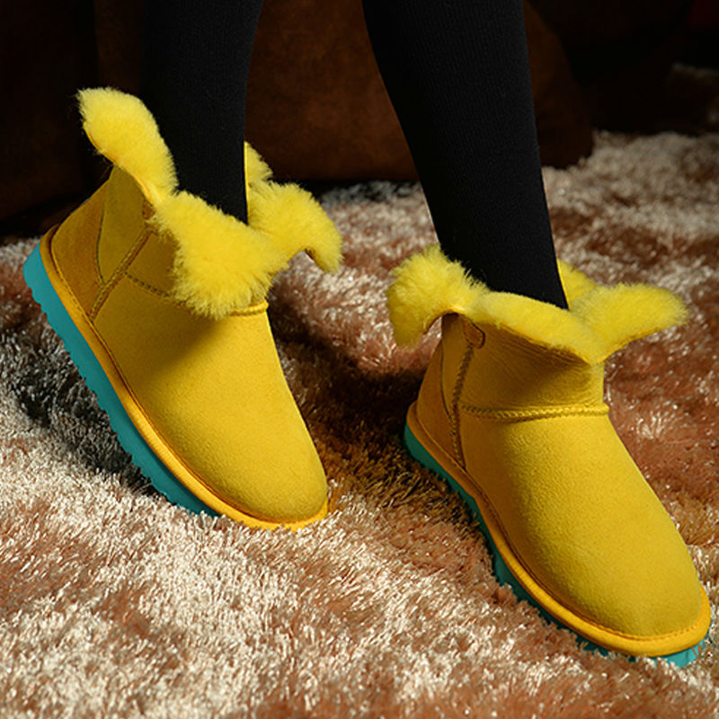 New 2018 Real Sheepskin Free Shipping Women's Shoes Nature Fur Wool Leather Woman Snow Boots 100% Genuine Sheepskin Boots