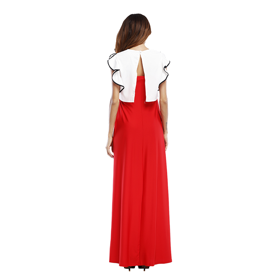 dress women maxi dress patchwork one piece summer sundress sexy party long A line dress fashion butterfly sleeve long dress in Dresses from Women 39 s Clothing