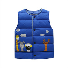 2017 Brand Winter Vest Duck Down for Girls Boys Animal Prints in 5 Color Warm Baby Kids Clothes Waistcoat Outwear 2-8Y Clothing
