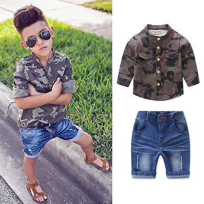 Kids Long Sleeve Baby Boy Camouflage T-shirt Shirt+Jeans Shorts 2pcs Outfits Set camouflage pattern cold shoulder loose fit t shirt