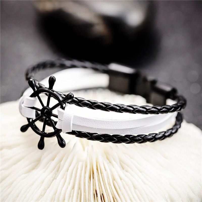 Bobo Cover Black Leather charm Bracelets Men  2