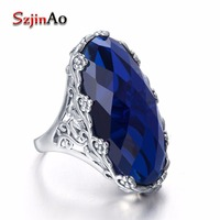 Szjinao Vintage Ring Real 100 925 Sterling Silver Body Jewelry Created Sapphire Bohemia Ring For Women