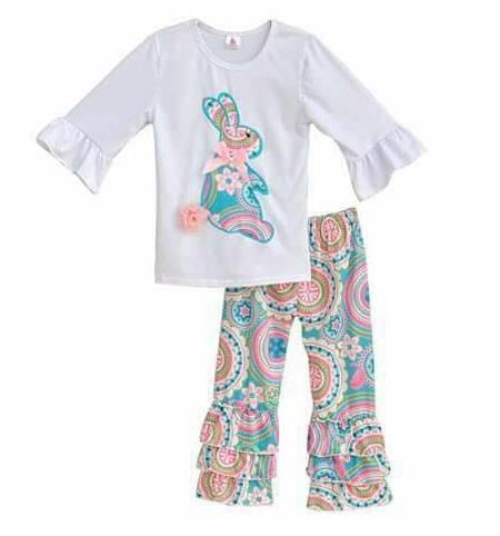 Easter Day Bunny Design Clothes Wholesale Children's Boutique Clothing Ruffle pants girl outfits