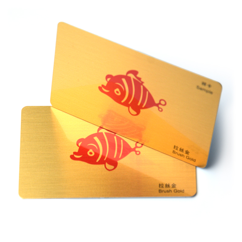 Top sale CMYK printing brushed gold plastic pvc business