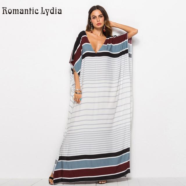 b8f4cdbb018 Women Large Size Kaftan Bohemian Loose Robe Femme Dresses Striped Beach Long  Maxi Dress 2019 Summer