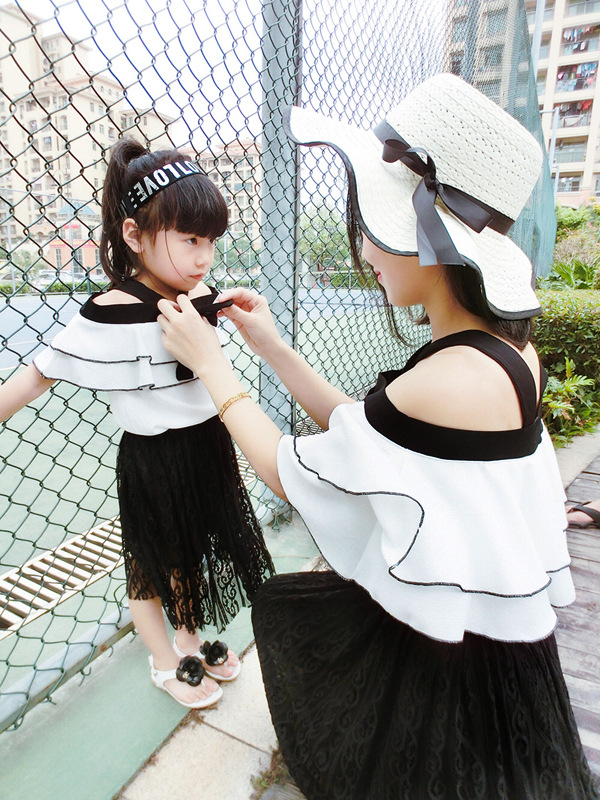 Mother and Daughter Clothes Summer White Chiffon Blouse Top & Black Lace Skirt 2 Pcs Clothing Set Mom Daughter Matching Outfits lace insert crop top and lace insert skirt twinset