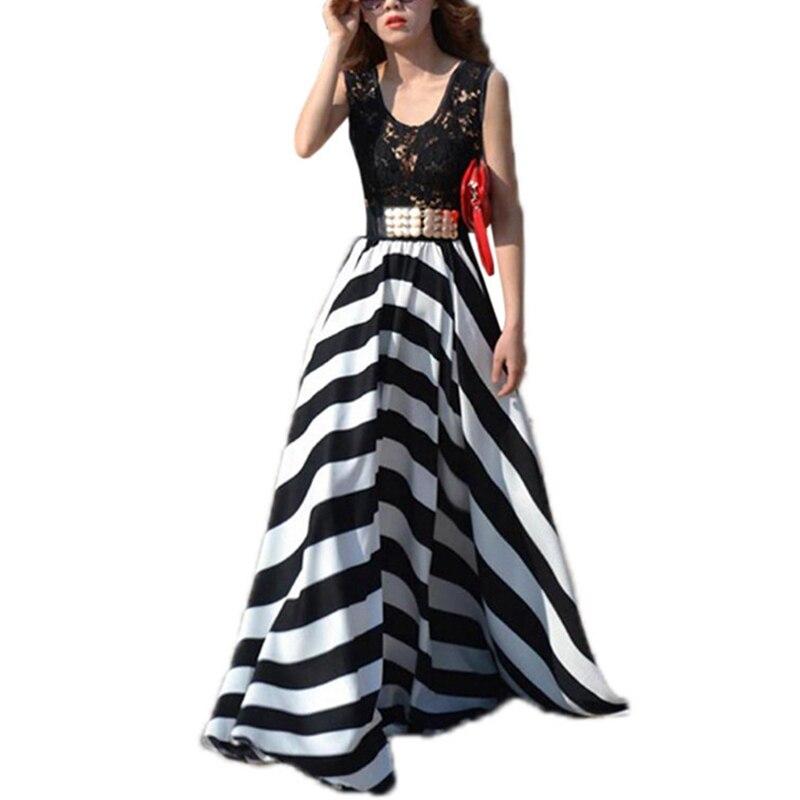 Шифоновое платье, кружевное Полосатое платье для мамы и дочки, 2019 летний Повседневный стиль, широкий крой без рукавов с круглым вырезом, лет...