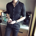 2017 New Autumn Fashion Brand Men Clothes Slim Fit Men Half Sleeve Shirt Men Polka Striped Casual Men Shirts Social Plus Size